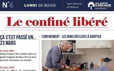 Confinement – Une gazette quotidienne pour les résidents des Jardins d'Arcadie