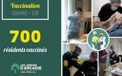 Les Jardins d'Arcadie passent la barre des 700 résidents vaccinés !
